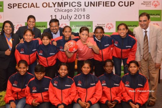 Mary kom with the team of Special Olympics bharat during Special Olympics Unified Football Cup send off ceremony in india
